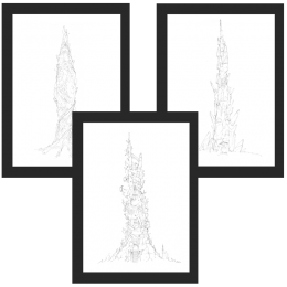 Concept art DOFUS – Pack 3 cadres Tours des Oubliés – 3 x 30x40 cm