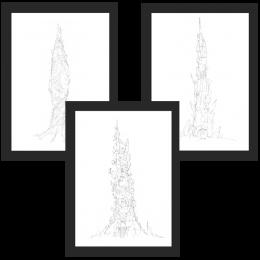 DOFUS Concept Art – Towers of the Forgotten Framed Art 3-Pack – 30×40 cm x 3